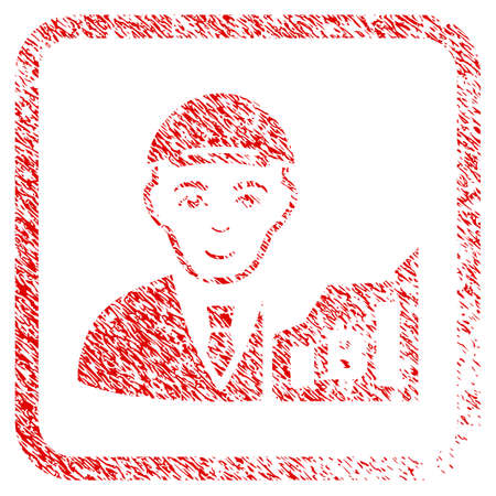 Bitcoin Trader rubber seal imitation. Icon raster symbol with distress design and dirty texture inside rounded square. Scratched red emblem. Man face has enjoy sentiment.