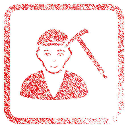 Hammer Victim rubber seal stamp watermark. Icon raster symbol with distress design and dirty texture in rounded squared frame. Scratched red sticker. Guy face has enjoy expression.
