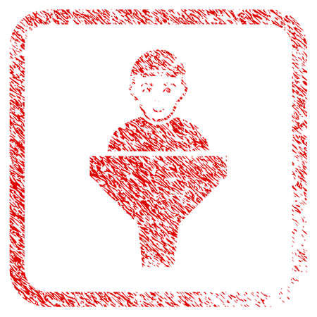 Client Sales Filter rubber stamp watermark. Icon raster symbol with distress design and dirty texture inside rounded square. Scratched red sign. Guy face has cheerful mood. Stock Photo