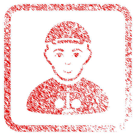 Judge rubber stamp watermark. Icon raster symbol with grungy design and corrosion texture in rounded square. Scratched red sticker. Dude face has cheerful mood. a dude from judge with a cap. Stock Photo