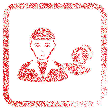 Payer rubber stamp watermark. Icon raster symbol with unclean design and unclean texture in rounded rectangle. Scratched red sign. Person face has glad feeling. a guy from payer dressed with a cap.