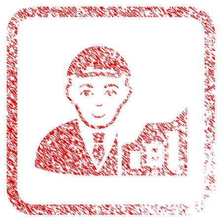 Bitcoin Trader rubber seal imitation. Icon raster symbol with textured design and unclean texture in rounded frame. Scratched red sign. Male face has enjoy mood. a man from bitcoin trader in a cap. Stock Photo