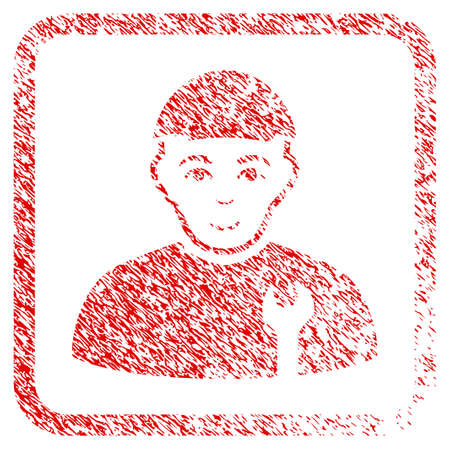Serviceman rubber stamp imitation. Icon raster symbol with unclean design and unclean texture inside rounded squared frame. Scratched red emblem. Boy face has glad feeling.