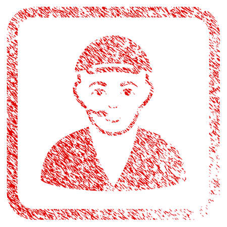 Call Center Operator rubber seal watermark. Icon raster symbol with grungy design and corrosion texture in rounded squared frame. Scratched red stamp imitation. Person face has positive emotion. Stock Photo