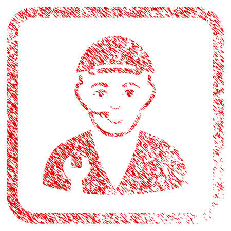 Service Operator rubber seal stamp imitation. Icon raster symbol with scratched design and unclean texture inside rounded square. Scratched red emblem. Person face has cheerful expression.