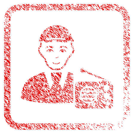 Radio Listener rubber stamp watermark. Icon raster symbol with unclean design and dust texture inside rounded square frame. Scratched red stamp imitation. Male face has gladness sentiment.