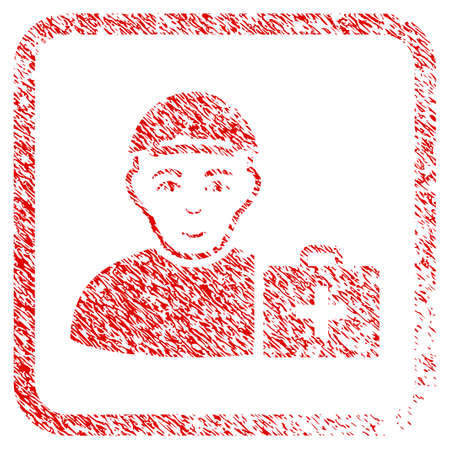 First Aid Man rubber seal stamp imitation. Icon raster symbol with textured design and unclean texture in rounded frame. Scratched red emblem. Human face has enjoy mood.