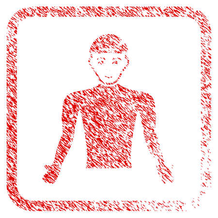 Man Body rubber seal watermark. Icon raster symbol with unclean design and dust texture inside rounded square frame. Scratched red stamp imitation. Male face has happiness emotion.