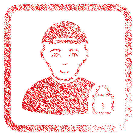 Locked User rubber seal watermark. Icon raster symbol with unclean design and corrosion texture inside rounded rectangle. Scratched red emblem. Boy face has cheerful mood.