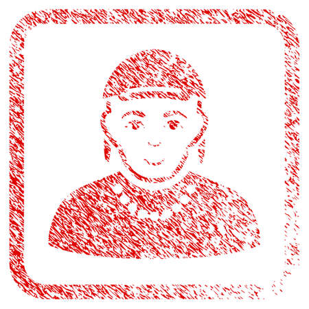 Gay rubber seal imitation. Icon raster symbol with distress design and corrosion texture in rounded frame. Scratched red stamp imitation. Dude face has joyful emotions.