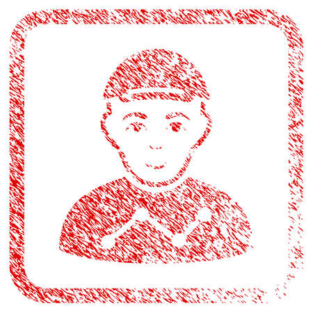 User Stats rubber seal stamp watermark. Icon raster symbol with distress design and dust texture in rounded squared frame. Scratched red emblem. Human face has glad feeling. Stock Photo