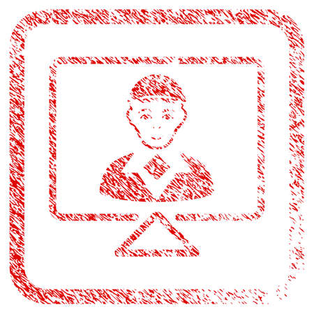 Video Connection rubber seal imitation. Icon raster symbol with grunge design and unclean texture inside rounded squared frame. Scratched red sign. Dude face has positive sentiment.