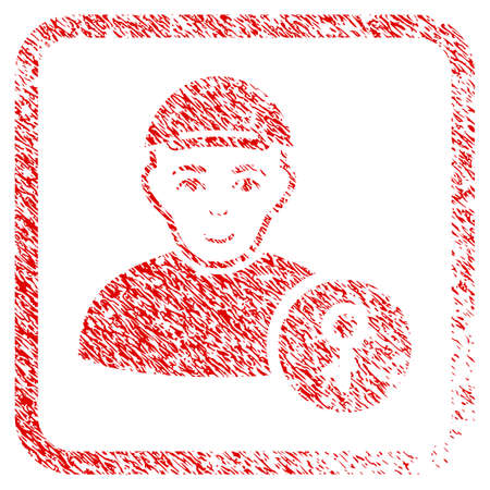 User Key rubber stamp watermark. Icon raster symbol with textured design and dust texture in rounded squared frame. Scratched red emblem. Guy face has gladness expression. Reklamní fotografie