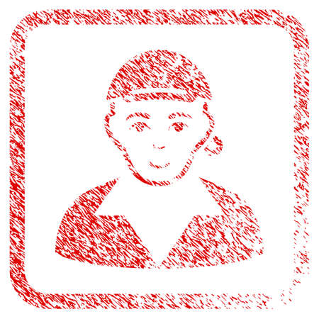 Gay rubber seal stamp imitation. Icon raster symbol with grunge design and dirty texture in rounded rectangle. Scratched red sign. Guy face has joyful sentiment. a male person from gay with a cap.