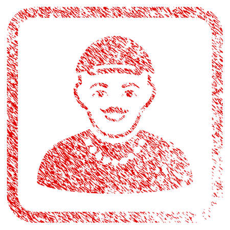 Hipster Boy rubber seal stamp watermark. Icon raster symbol with grungy design and unclean texture inside rounded rectangle. Scratched red emblem. Guy face has glad feeling.