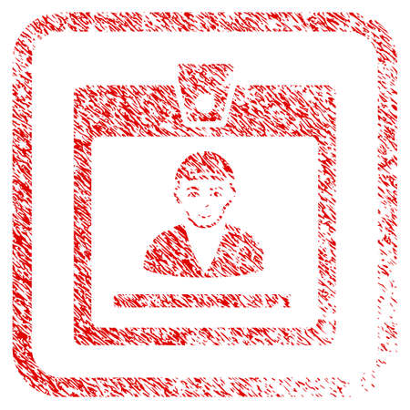 Guy Access Card rubber seal stamp imitation. Icon raster symbol with grunge design and dust texture inside rounded rectangle. Scratched red sign. Person face has smiling emotions.