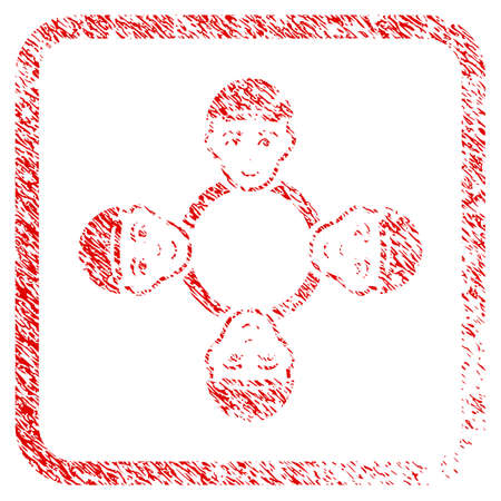 User Collaboration Network rubber stamp watermark. Icon raster symbol with textured design and unclean texture in rounded rectangle. Scratched red stamp imitation. Man face has cheerful mood.