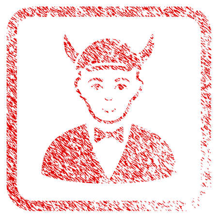 Devil rubber seal imitation. Icon raster symbol with grunge design and unclean texture in rounded square frame. Scratched red emblem. Man face has happiness emotion. a person from devil with a cap. Banco de Imagens