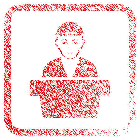 Official Clerk rubber seal watermark. Icon raster symbol with unclean design and dirty texture in rounded squared frame. Scratched red sticker. Male face has smiling mood. Stockfoto