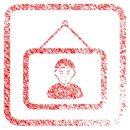 Guy Portrait rubber stamp watermark. Icon raster symbol with grunge design and dirty texture inside rounded squared frame. Scratched red stamp imitation. Guy face has smiling sentiment.