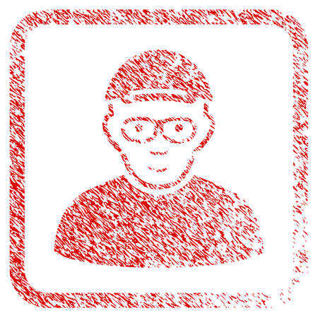 Geek rubber seal imitation. Icon raster symbol with unclean design and dust texture inside rounded rectangle. Scratched red emblem. Person face has happy emotions. a man from geek in a cap.