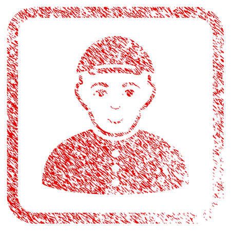 Boy rubber seal watermark. Icon raster symbol with grungy design and dirty texture in rounded rectangle. Scratched red stamp imitation. Man face has joy sentiment. a man from boy with a cap. Stock Photo