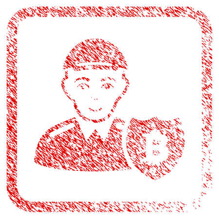 Bitcoin Protector rubber seal stamp watermark. Icon raster symbol with unclean design and dust texture inside rounded rectangle. Scratched red sticker. Boy face has happiness emotions.