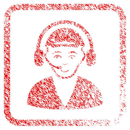 Call Center Operator rubber stamp watermark. Icon raster symbol with unclean design and corrosion texture inside rounded squared frame. Scratched red stamp imitation. Man face has glad sentiment. Stock Photo