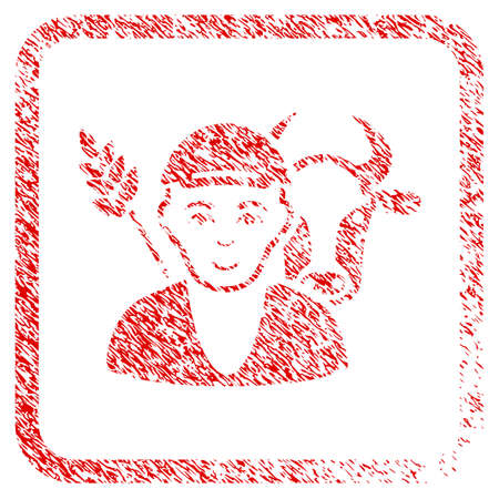 Farmer rubber stamp watermark. Icon raster symbol with grunge design and dirty texture in rounded square frame. Scratched red stamp imitation. Man face has joy expression.