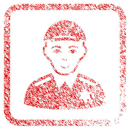 Police Sheriff rubber seal imitation. Icon raster symbol with unclean design and dirty texture in rounded rectangle. Scratched red sign. Human face has enjoy mood. Stock Photo
