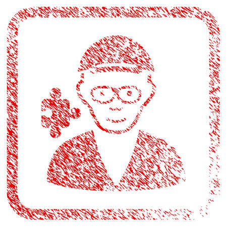 Specialist rubber stamp imitation. Icon raster symbol with distress design and corrosion texture inside rounded square frame. Scratched red sign. Person face has joyful mood.