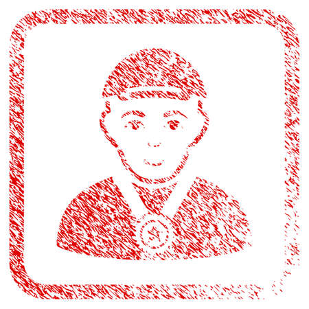 Champion rubber seal stamp watermark. Icon raster symbol with unclean design and unclean texture in rounded square frame. Scratched red emblem. Person face has positive sentiment.