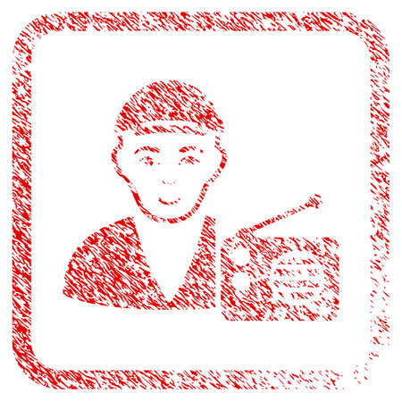Radio Dictor rubber seal watermark. Icon raster symbol with unclean design and unclean texture inside rounded rectangle. Scratched red sign. Man face has glad feeling.