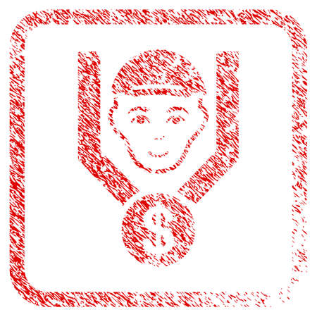 Customer Sales Filter rubber stamp imitation. Icon raster symbol with distress design and unclean texture in rounded frame. Scratched red emblem. Guy face has joy expression.