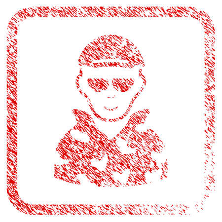 Swat Soldier rubber seal stamp imitation. Icon raster symbol with distress design and dirty texture inside rounded squared frame. Scratched red emblem. Male face has glad feeling.