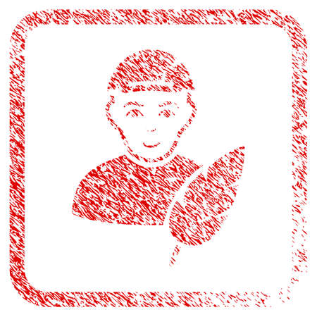 Feather Writer rubber seal stamp imitation. Icon raster symbol with distress design and unclean texture inside rounded squared frame. Scratched red sign. Boy face has enjoy emotion.