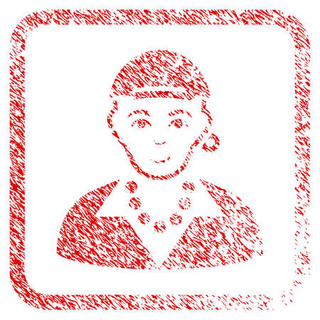 Gay Boy rubber seal stamp imitation. Icon raster symbol with distress design and dust texture in rounded square frame. Scratched red sign. Person face has cheerful feeling.
