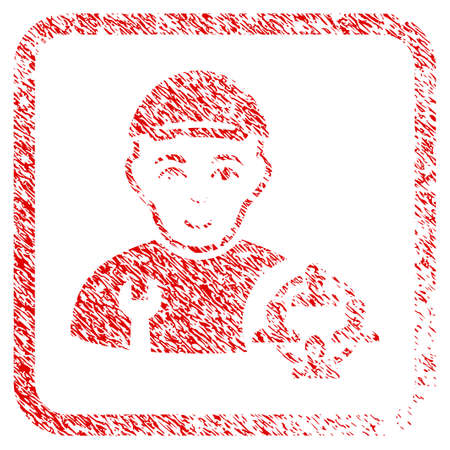 Social Engineer rubber seal stamp watermark. Icon raster symbol with textured design and corrosion texture in rounded square. Scratched red stamp imitation. Boy face has happy mood.