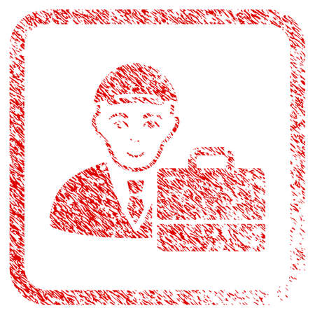 Accounter rubber stamp watermark. Icon raster symbol with distress design and corrosion texture inside rounded square frame. Scratched red stamp imitation. Man face has glad expression.