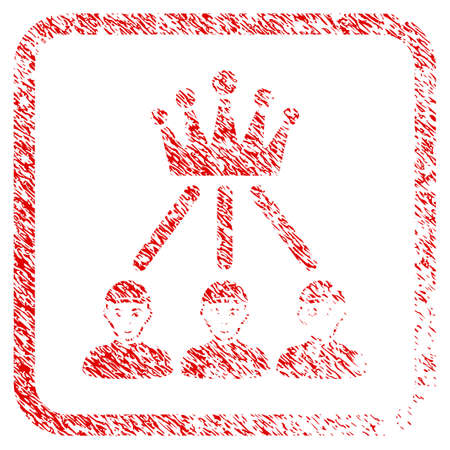 Hierarchy Men rubber seal imitation. Icon raster symbol with grungy design and unclean texture in rounded rectangle. Scratched red sign. Person face has gladness mood.