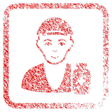 Drug Dealer rubber seal imitation. Icon raster symbol with unclean design and corrosion texture in rounded rectangle. Scratched red sticker. Human face has smiling emotion. Stock Photo