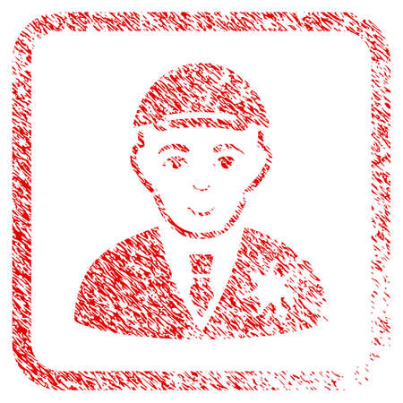 Sheriff rubber seal watermark. Icon raster symbol with distress design and dust texture in rounded frame. Scratched red sticker. Boy face has glad emotions. a person from sheriff wearing a cap. Stock Photo