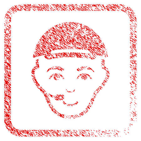 Operator Head rubber seal stamp watermark. Icon raster symbol with unclean design and dust texture inside rounded frame. Scratched red sticker. Male face has joy emotion. Stock Photo