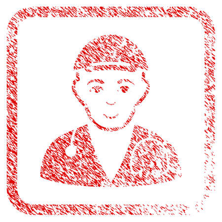 Physician Doctor rubber stamp imitation. Icon raster symbol with textured design and dust texture inside rounded squared frame. Scratched red emblem. Boy face has glad feeling.