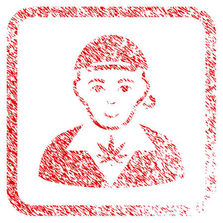 Marihuana Dealer rubber seal stamp imitation. Icon raster symbol with unclean design and corrosion texture inside rounded square. Scratched red stamp imitation. Dude face has enjoy expression.