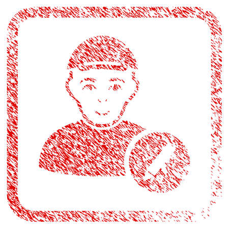 Modify User rubber seal stamp imitation. Icon raster symbol with grunge design and corrosion texture inside rounded frame. Scratched red stamp imitation. Man face has gladness emotions.