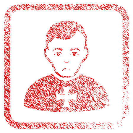 Order Chevalier rubber seal stamp watermark. Person face has mourning emotion. Scratched red emblem of order chevalier. Icon symbol with grunge design and dust texture inside rounded frame.