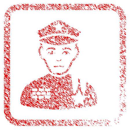 Army General rubber seal stamp imitation. Person face has dolour feeling. Scratched red emblem of army general. Icon symbol with grunge design and dirty texture inside rounded frame.