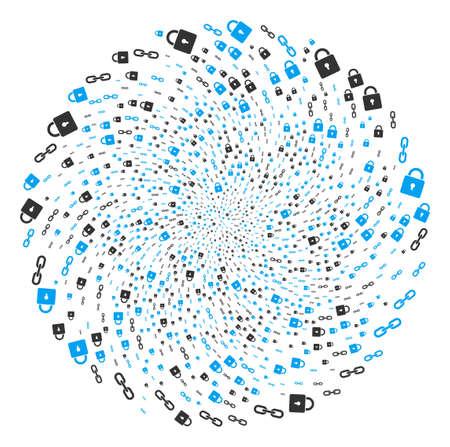 Blockchain swirl cluster. Object twist done from random blockchain symbols. Vector illustration style is flat iconic symbols.