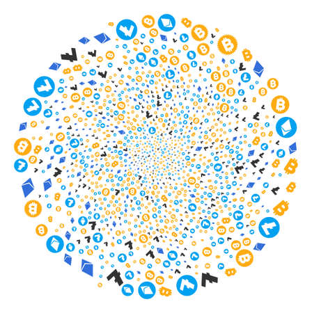 Cryptocurrency Symbols centrifugal spin. Element whirlpool done from scatter cryptocurrency symbols items. Vector illustration style is flat iconic symbols.